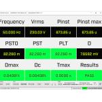 Wartości parametrów migotań (flickerów) w czasie rzeczywistym zg. z IEC61000-3-3/12